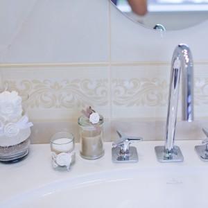 Detail vzorkové koupelny v koupelnovém studiu Gremis - umyvadlo a jeho designové prvky