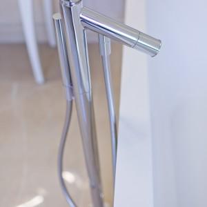 Detail vzorkové koupelny v koupelnovém studiu Gremis - sprcha, baterie, přívod vody do vany