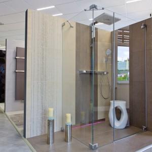 Vzorková koupelna ve studiu Gremis - sprchový kout