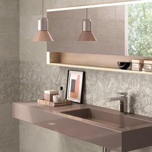 Inspirace koupelnami Ceramiche Supergres - umyvadlo a doplňky s ostrými hranami