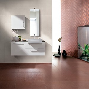 Inspirace koupelnami Alfalux - prostorná koupelna krémová a jemně červená