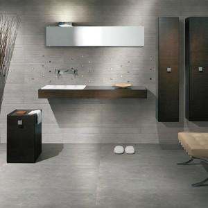 Inspirace koupelnami Alfalux - tmavší koupelna s ostrými hranami a prvky