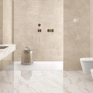 Inspirace koupelnami Ceramiche Supergres. Produkty značky jsou k dostání v obchodě Gremis.