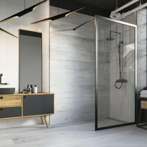 Inspirace koupelnami Paradyż - koupelna se sprchovým koutem v industriálním designu