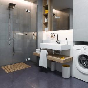 Inspirace koupelnami Paradyż - tmavší koupelna s vybavením s sprchovým koutem