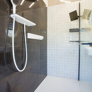 Vzorková koupelna ve studiu Gremis - provedení sprchy