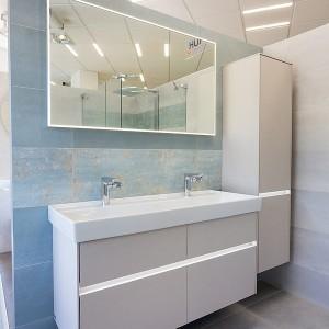 Vzorková koupelna ve studiu Gremis - umývací stěna