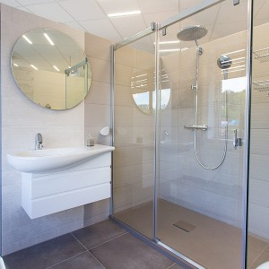Vzorková koupelna ve studiu Gremis - dispozice koupelny