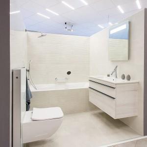 Vzorková koupelna ve studiu Gremis ve světlém provedení